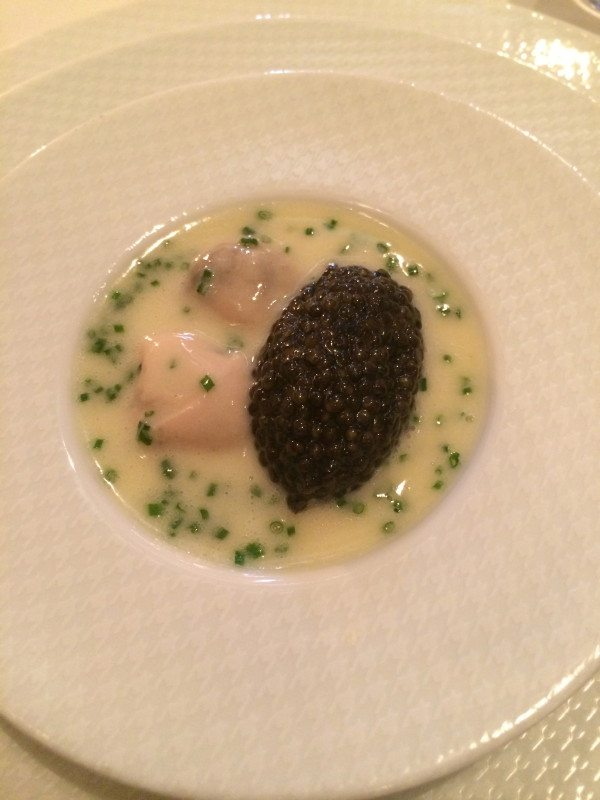 """Oysters & Pearls"" ""Sabayon of Pearl Tapioca with Island Creek Oysters & White Sturgeon Caviar"