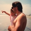 dad and baby on the beach