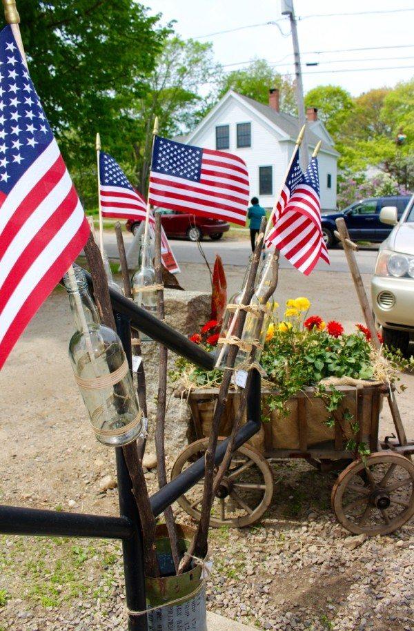 Patriotic decoration~ flags in jars