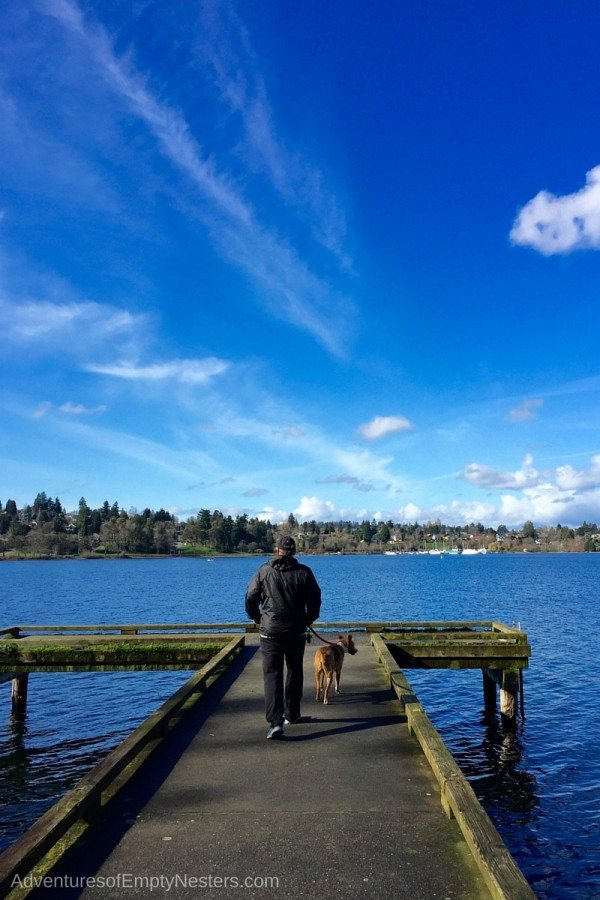 Craig walking the dog on the dock