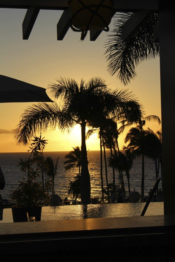 Gorgeous view of the sunset from the pool deck