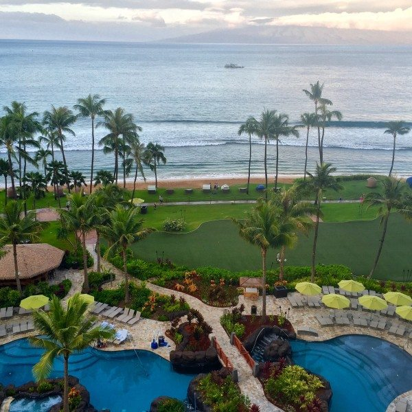 Our spectacular view of the property and the ocean from the Hyatt Residence Club Maui