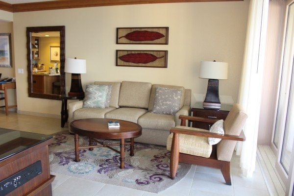 The comfortable living room with disappearing door to the right of the Hyatt Residence Club Maui