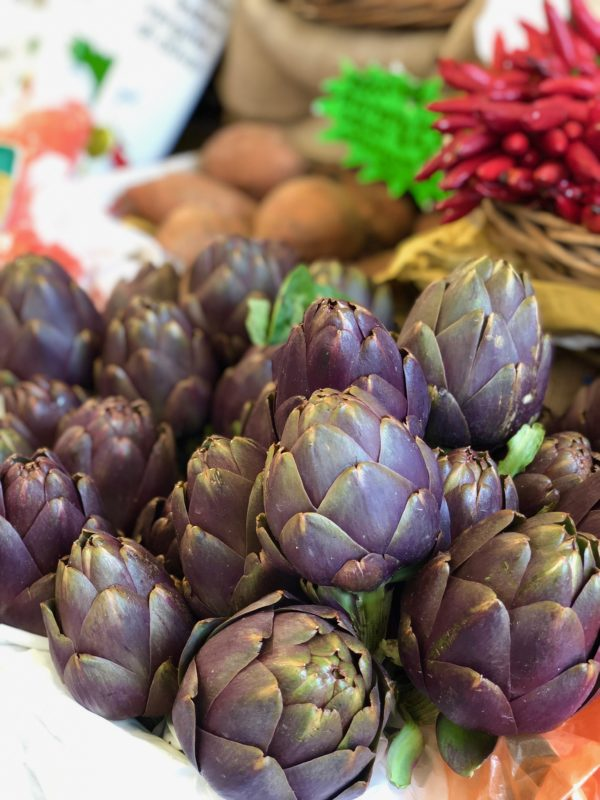 farm fresh artichokes in the market