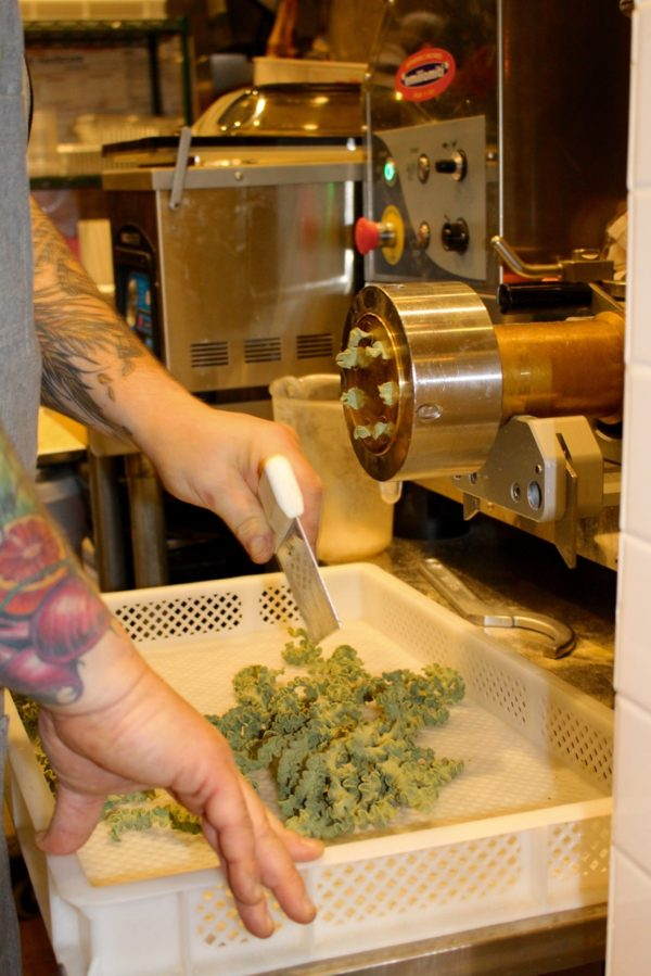 Chef Bruce making pasta at Knead Pasta Bar + Market -what to do in downtown LA