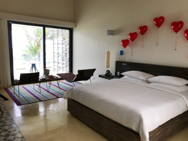 Our hotel room decorated for our anniversary by the Andaz Mayakoba Resort