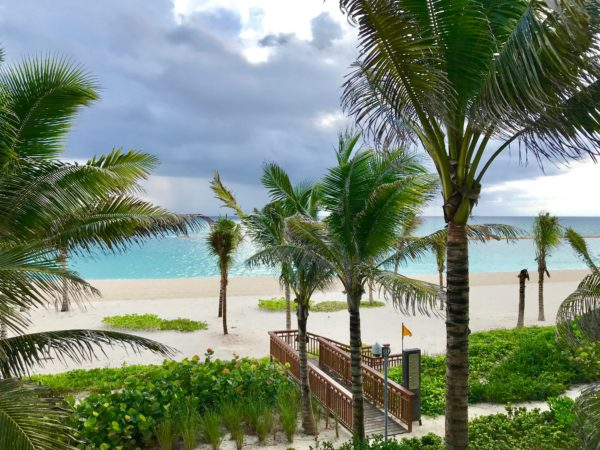 The view of the white sand beach from our room at the Andaz Mayakoba Resort.