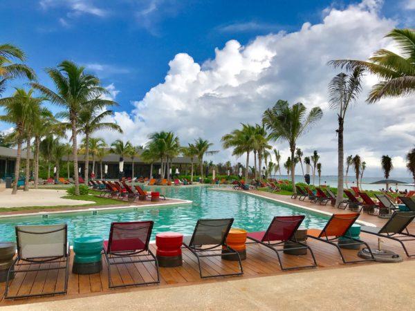 On of the three gorgeous swimming pools at the Andaz Mayakoba Riviera Maya.