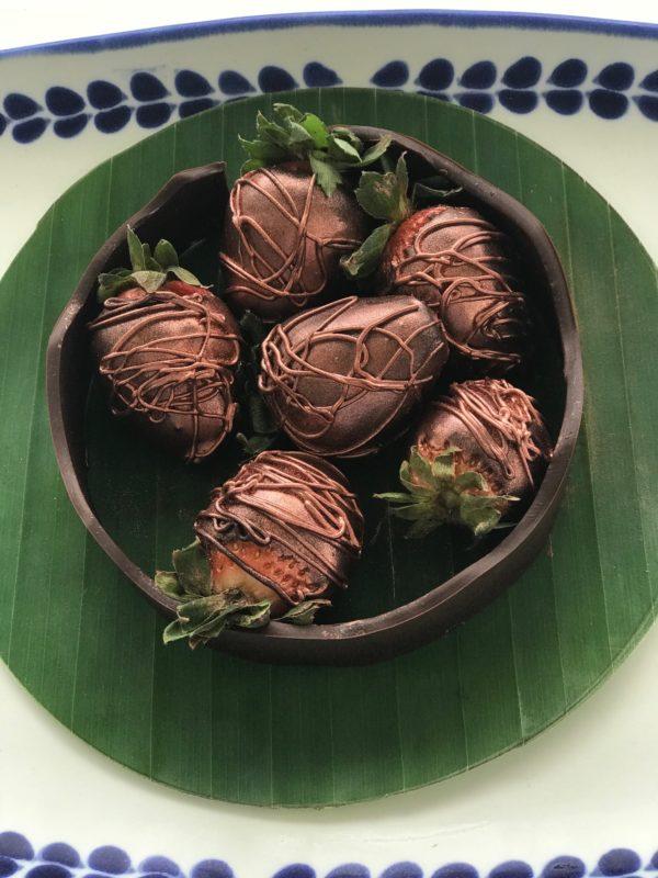 Chocolate dipped strawberries at the Andaz Mayakoba Resort