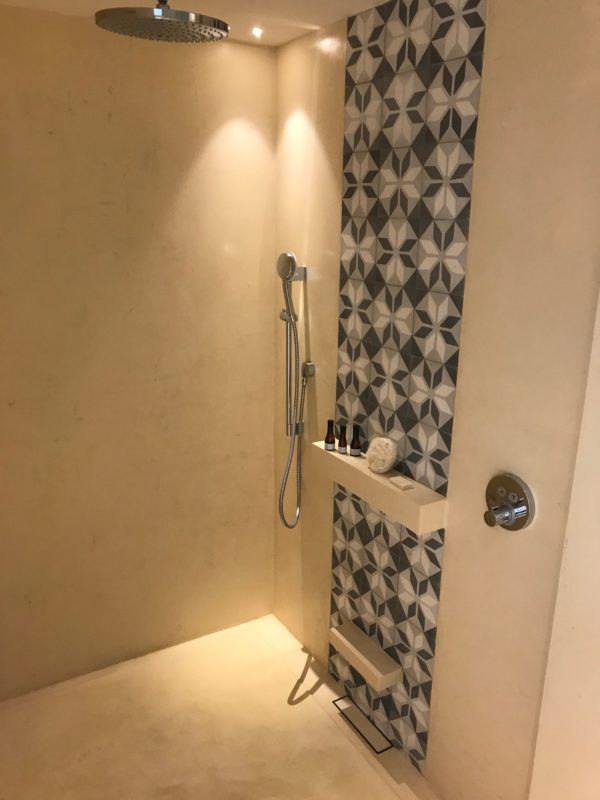 The innovative design of our open shower at the Andaz Mayakoba Resort.