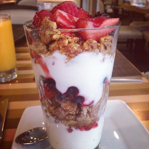 Yogurt, fresh, fruit and granola parfait at the Hyatt