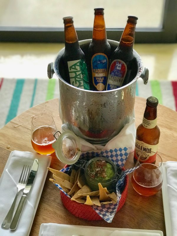 Mexican beers in a bucket with guacamole and chips at the Andaz Mayakoba Resort