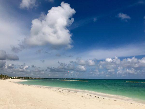 The pristine, white sand beach at the Andaz Mayakoba.