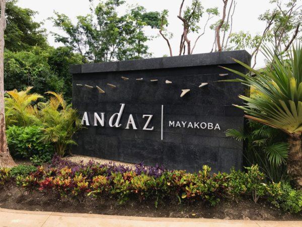 The sign of the Andaz Mayakoba Resort Riviera Maya.