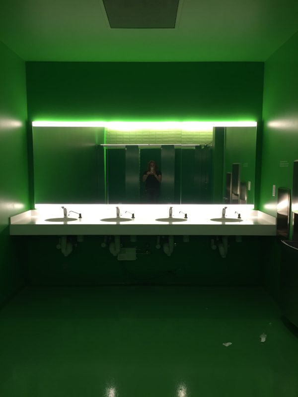 Every surface was painted green! Evidently the restrooms are different colors on every floor.