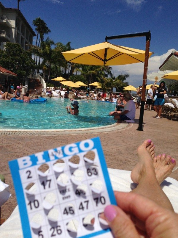 playing BINGO by the pool
