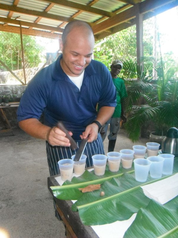Enjoying cocoa tea at the Jade Mountain Chocolate Festival, St. Lucia