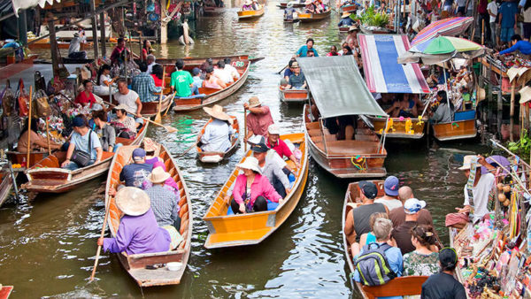 Colorful boats in floating market in Bangkok.